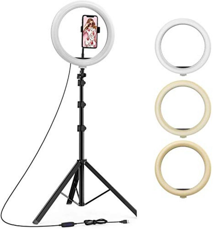 10 inch LED Ring Light with 16 Color Modes Lighting Kit with 7 feet Stand, Camera Photo Studio LED Lighting Portrait YouTube Video Shooting