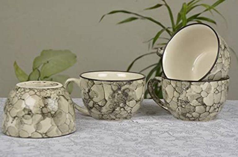 Lotum Pure Ceramic Handled Ceramic Soup Bowl /Cereal, Soup Bowl,Color- 3D Grey (Set of 4)/Dishwasher & Microwave Safe