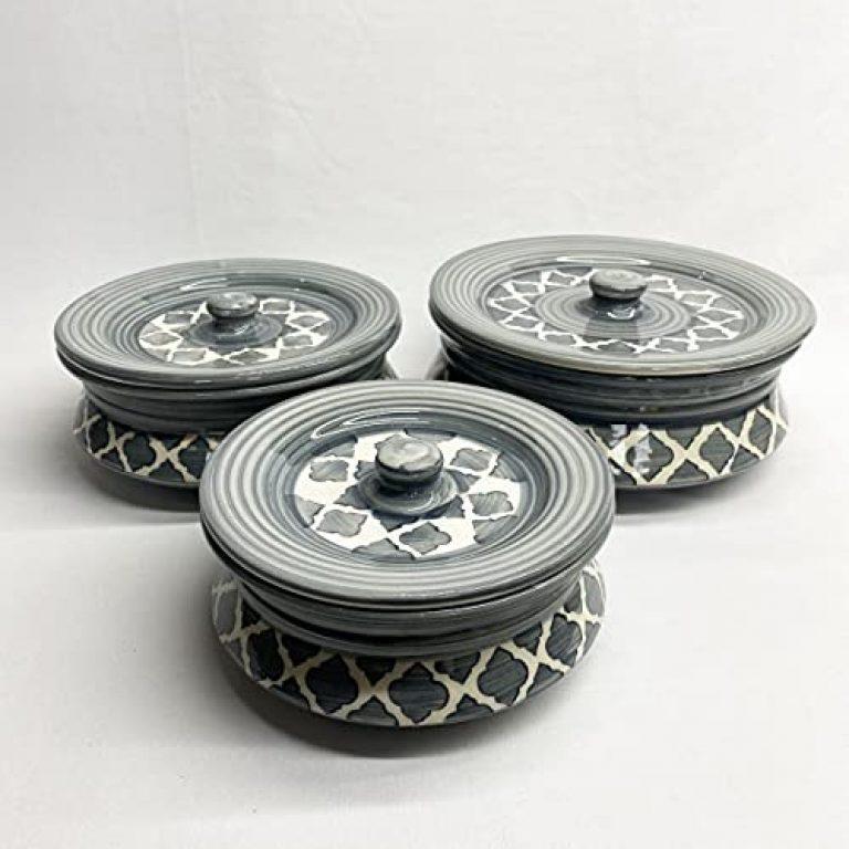 DekorGhar Pure Ceramic Handi Set with lid, Set of 3   Handpainted Legend Grey Color  Serving Bowl/Donga Set   100% Food Grade Microwave Safe, Oven Safe