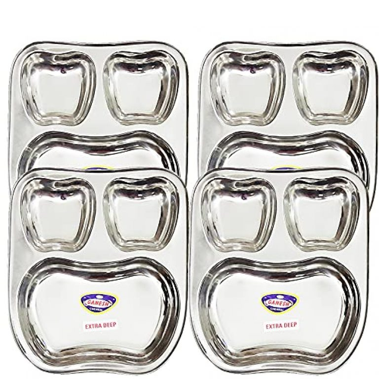 StarLinks®Stainless Steel Apple Shape Plate – 3Partition Baby Lunch Dinner Bhojan Thali (Extra Deep) Plates- Length:10″ (26cm) Width: 9″(22.5cm) Ht:1.25″(3cm) Approx.Wt: 1200gm – 4 pcs/G/300g/3p