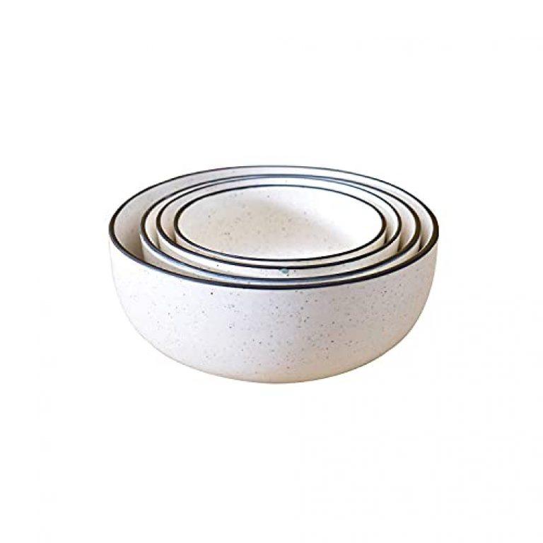 DekorGhar Pure Ceramic Mixing Bowls, Serving Bowl Set, Ceramic Cereal, Soup Bowl, Salad Bowls (Set of 4) (White Matt with Black Border)