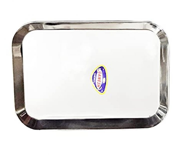StarLinks®Stainless Steel Plate/ Tray – Single Partition Mini Lunch Dinner Bhojan Thali Plates – 1 pcs- Length:10″ (26cm) Width: 7″(18cm) Ht:0.75″(2cm) Approx.Wt: 240gm /G/Image/No.12