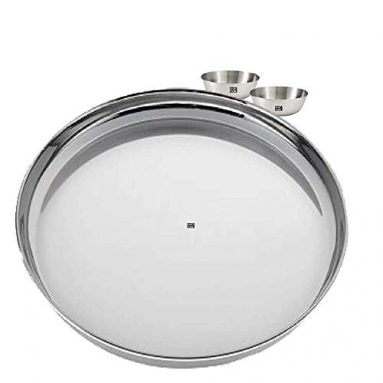 Ashtok Stainless Steel Large Plate and 2 Bowls. Suitable for Dining and Serving. Plate Size 18 Inches Diameter and Bowl Capacity 220 mL, Colour – Steel Grey, Pack of 1 Plate and 2 Bowls