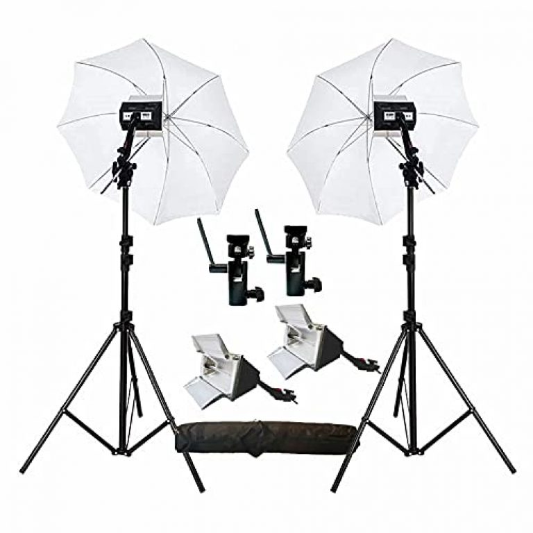 HIFFIN® Studio Home 33 Umbrella Stand Setup with S1 Semi Bracket Umbrella Adapter B-Bracket and Stand Set with Continuous/Video Light with 1000 Watt Halogen Tube (H-4 Light KIT Mark II)