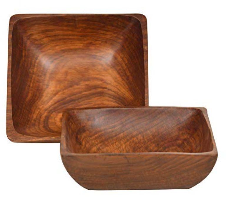Woodenclave Handcrafted Solid Wooden Multipurpose Serving Bowl for Breakfast Snacks Soup Serveware Salad Bowls for Home Kitchen – Set of 2 (Brown)