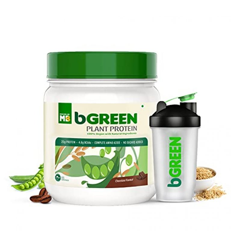 bGREEN by Muscleblaze Plant Protein Powder, 25g Vegan Protein (Pea Protein Isolate & Brown Rice Protein), Complete Amino Acid Profile, Antioxidant Rich, Muscle Repair, Faster Absorption, Chocolate 500g 14 Servings (with Free Shaker)