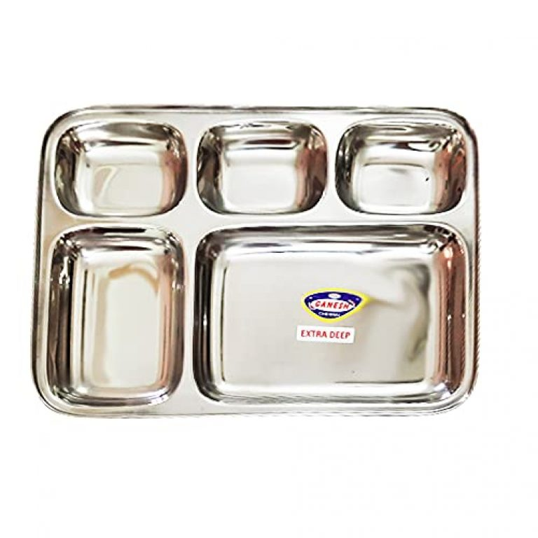 StarLinks®Stainless Steel Plate – 5 Partition Lunch Dinner Bhojan Thali Extra Deep Plates – 1 pcs- Length:13″ (33cm) Width: 10.25″(26cm) Ht:1.25″(3cm) Approx.Wt: 445gm /G/big/5p/28