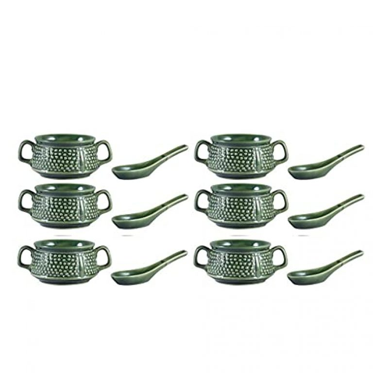 Unique SS Ceramic Handmade Green Double Handled Soup or Dessert Bowl with Spoon (Set of 6)