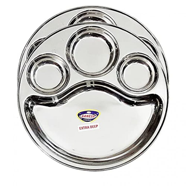 StarLinks®Stainless Steel Plate – 4 Partition Mini Lunch Dinner Bhojan Thali (Extra Deep) Plates- Dia:12″ (31.25cm) Ht:1.25″(3cm) Approx.Wt: 385gm – 2 pcs /G/385g/4p/11