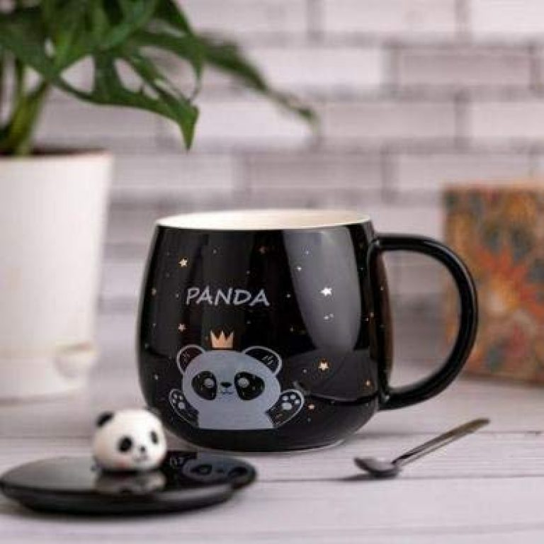 A K Sales Ceramic Lazy Panda Printed Mug with Lid and Spoon – 1 Piece, Black & White Cup, 450 ml Multi Design