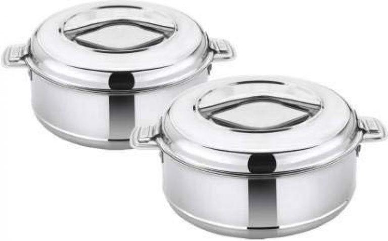 Aaroo Enterprise-Stainless Steel PUF Insulated Serving Casserole Hot Pot Combo (1000ML,1500ML))