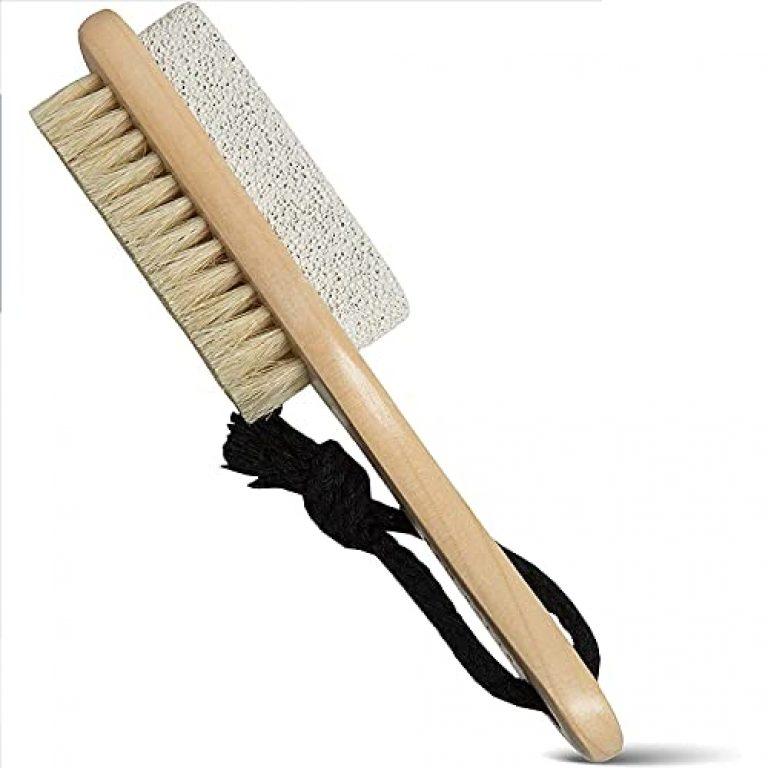 Accessorilia Foot Filer with Pumice stone for Pedicure 2 in 1 Foot Scrubber to Remove Dead Skin & Callus with Pumice Stone & Brush Wood Handle for Men & Women