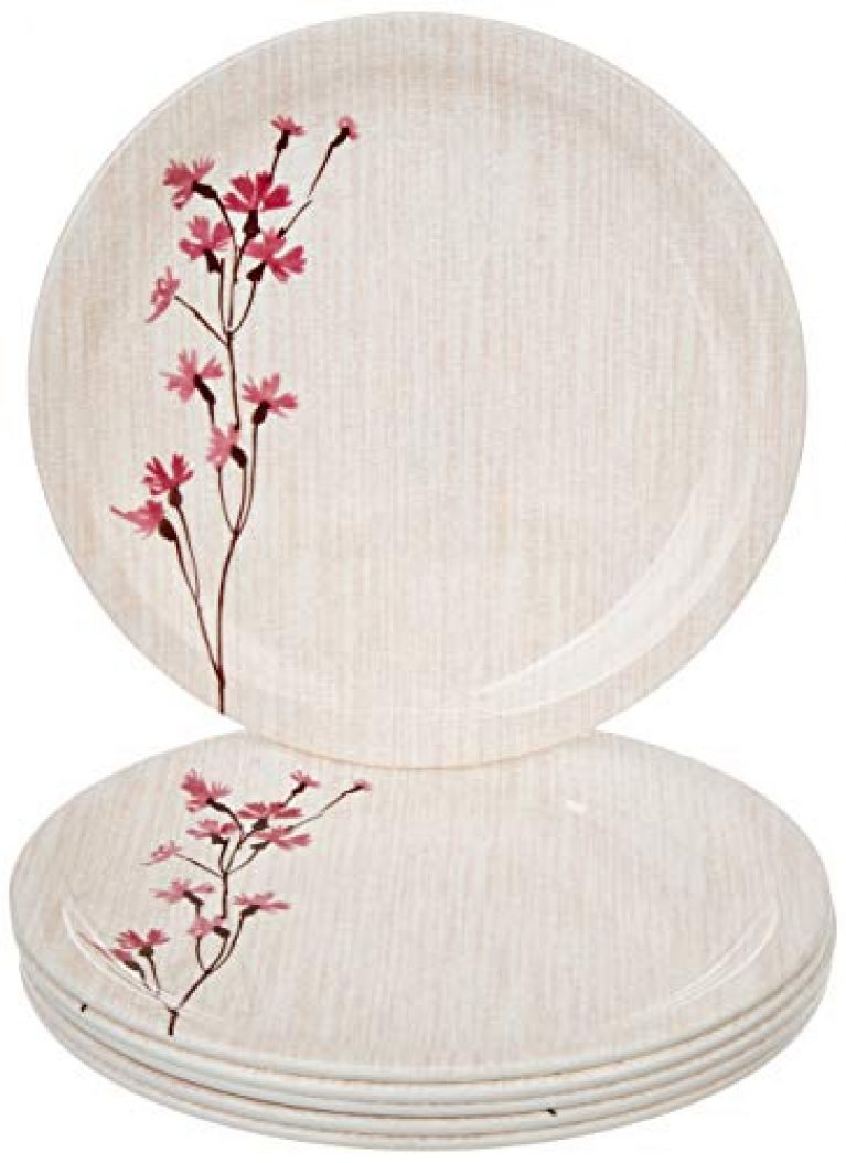 Amazon Brand – Solimo Classico Melamine Dinner Plate Set (11 inches, 6 pieces)