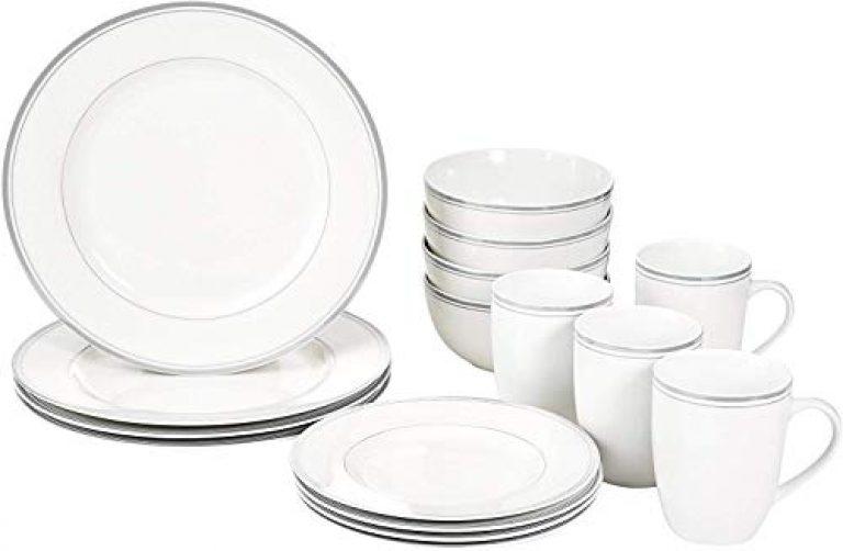 AmazonBasics 16-Piece Cafe Stripe Dinnerware Set – Grey