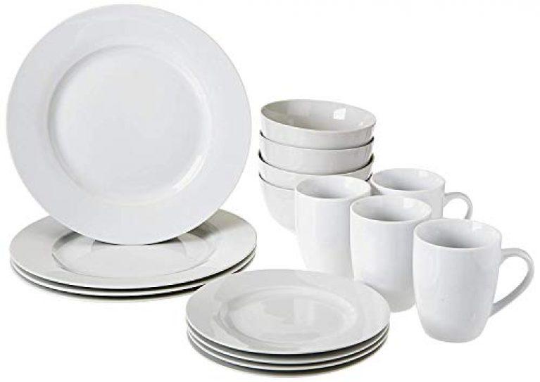 AmazonBasics 16-Piece Dinnerware Set, Round – White