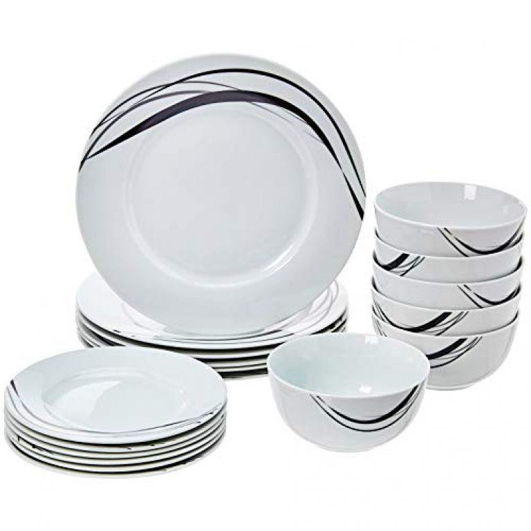 AmazonBasics 18-Piece Dinnerware Set – Half Moon, Service for 6
