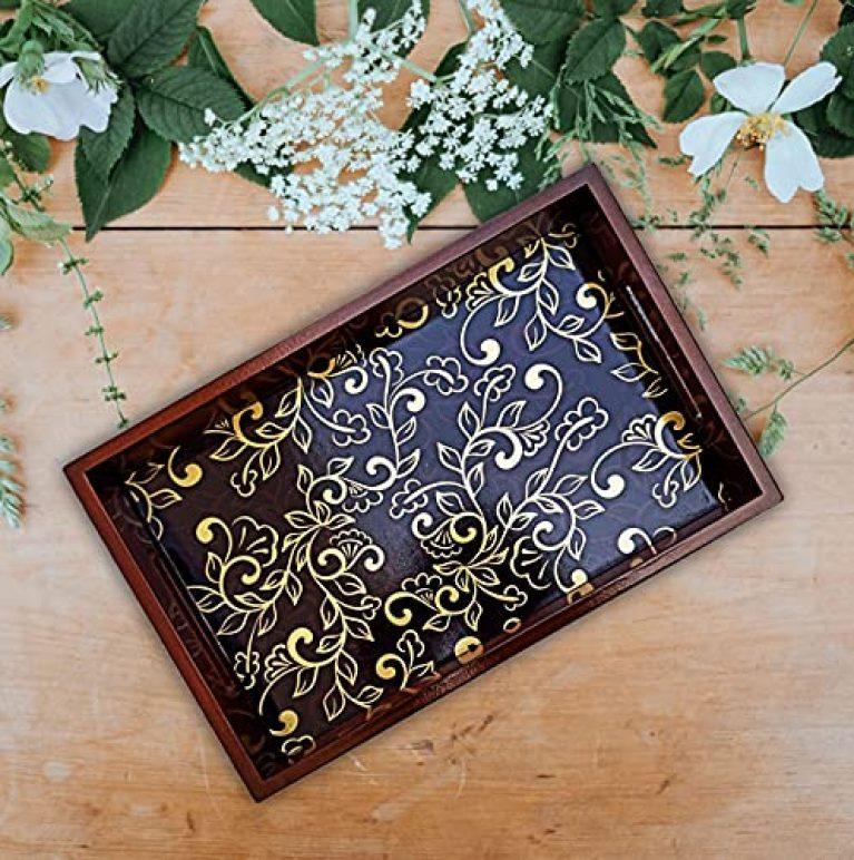 Angira Handicrafts Wooden Handmade U V Print Decorative Serving Tray, handicrafted Wooden Coffee Serving, Tea Serving Tray (AHS-T001)