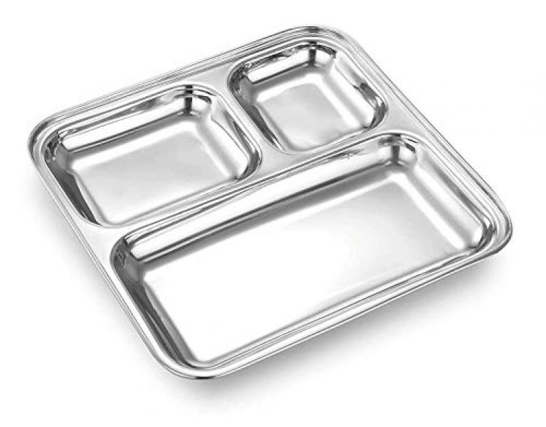 Apro Stainless Steel Square Small Dinner Plate with 3 Sections Trays for Kids Lunch, Camping, 1, Silver