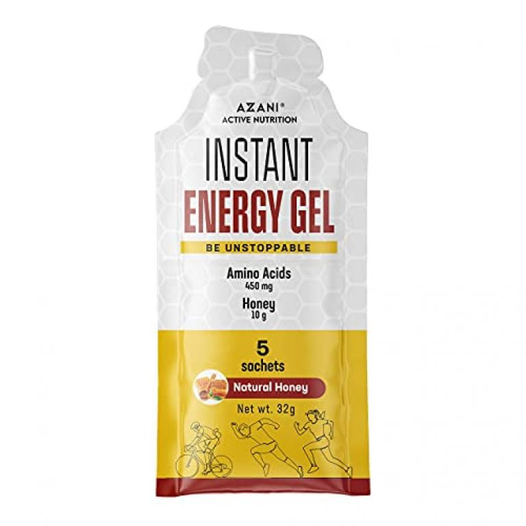 Azani Active Nutrition Instant Energy Gel with Natural Honey, MCT Oil & Amino Blend- 5 Sachets. No Energy Crash & Caffeine Free