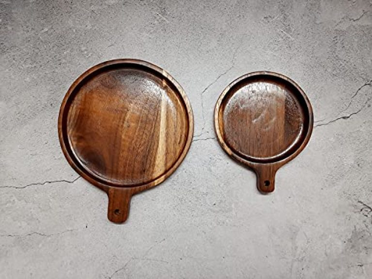 Badiwal Interio Wood Pizza Plate/Snack Serving Round Plate Set of 2 (11.5 inches and 8.5 inches)