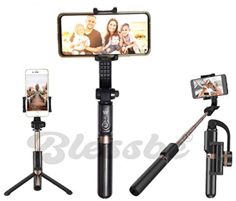 Blessbe Smartphone Gimbal Stabilizer Selfie Stick Tripod with Bluetooth Camera Remote Shutter Portable XY Axis 4 in 1 Gimbal YouTube Insta reels vlogging & Live Video for iPhone & Android – BB20