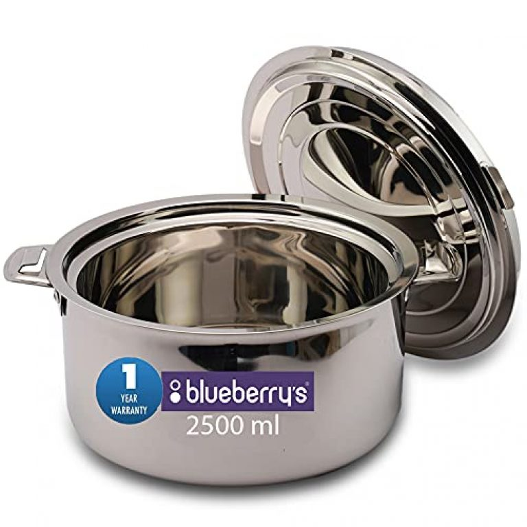 Blueberry's BHP 2500 ML Stainless Steel Hot Pot Casserole Cookware Insulated Thermal Serving Pot (Silver)