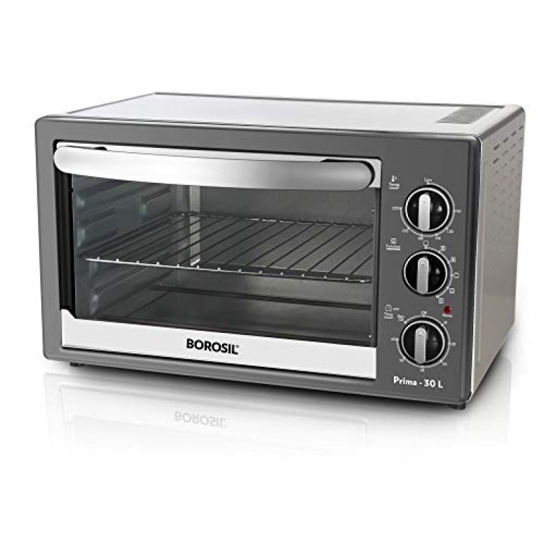 Borosil Prima 30-Litre Oven Toaster & Grill, Motorised Rotisserie & Convection Heating, 6 Heating Modes (Chrome Grey)