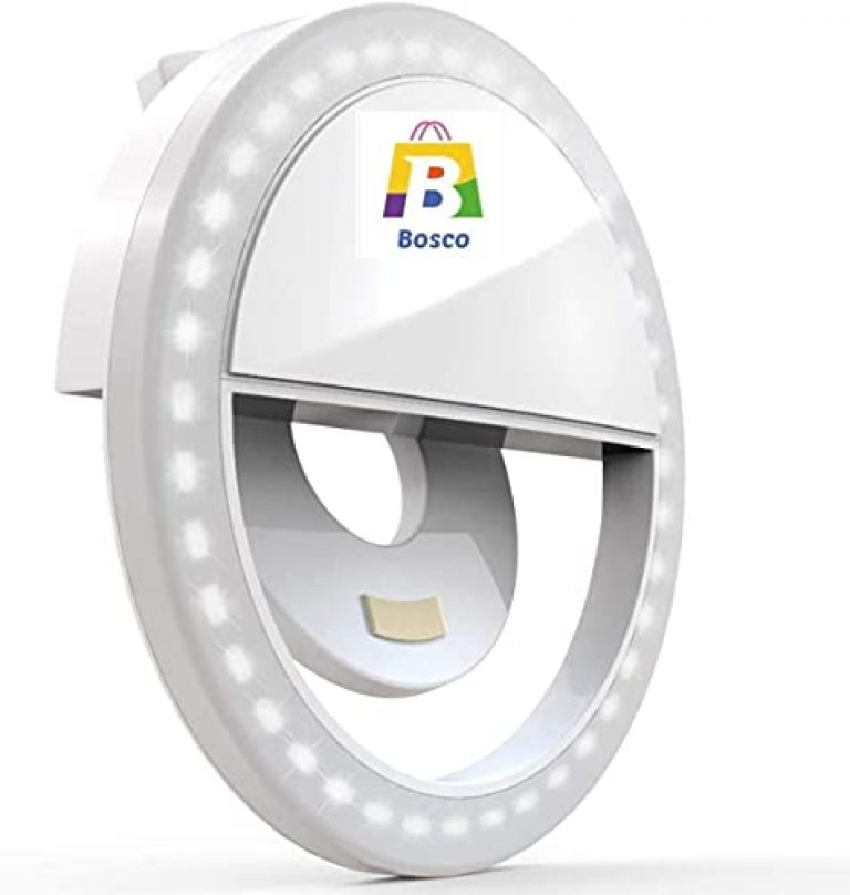 Bosco® Chargeable LED Selfie Flash Ring Light with USB Cable Portable and Compact Design for Photo's | Video's | Live Streaming | for All Mobile, Tablet (White Color)