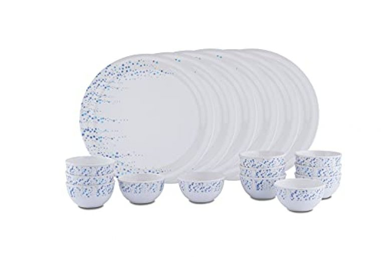 Buyer Melamine Heavyweight Dinnerware Unbreakable Everyday Use Indoor & Outdoor 18 Pcs Dinner Set 12 Deep Bowls and 6 Plates – White (Blue Star 18 Pcs Melamine)