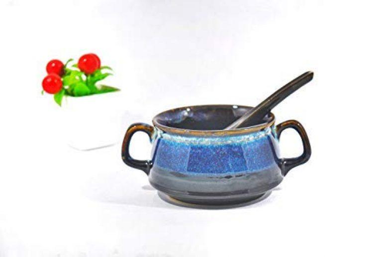Caffeine Ceramic Handmade Blue & Black Double Handled Soup Bowl (Set of 1)