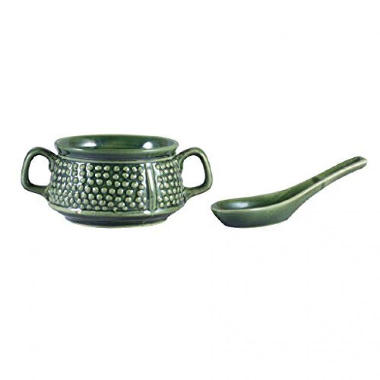 Caffeine Ceramic Handmade Green Bubble Double Handled Soup Bowl (Set of 1)