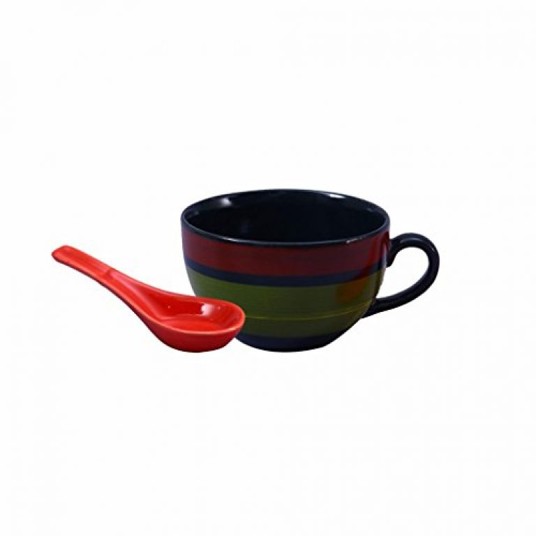 Caffeine Ceramic Handmade Green Chandrakari Single Handled Soup Bowl with Spoon (Set of 1)