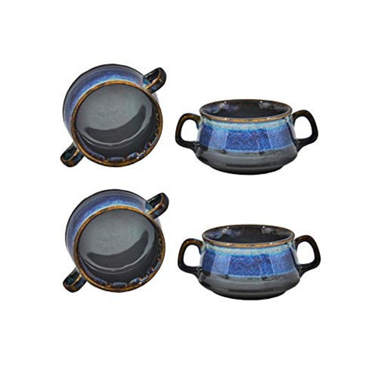 Caffeine Ceramic Handmade Multi Color Double Handled Soup Bowl with Spoon (Set of 4)