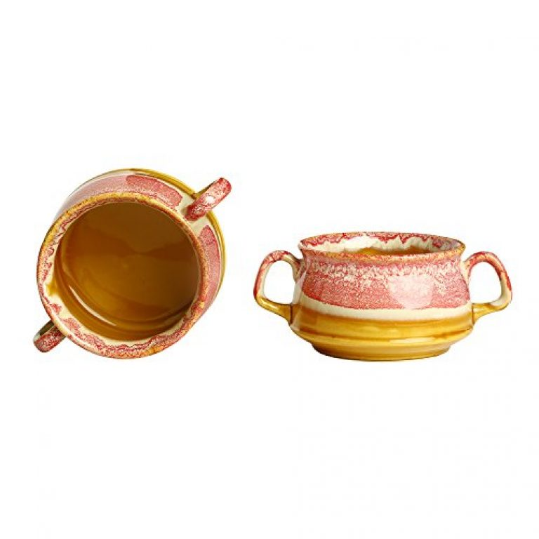 Caffeine Ceramic/Stoneware Double Handled Katori Soup Bowl with 2 Spoon (Pink and Brown) – Set of 2