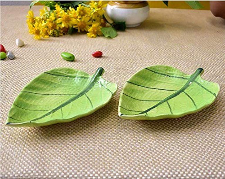 Ceramic Green Leaf Shape Platter (Set of 2) Quarter Serving Plate (2 Quarter Plate)