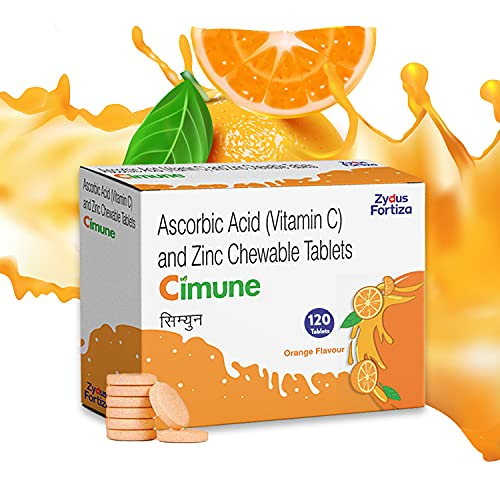 Cimune Vitamin C and Zinc, Chewable Tablets, Tasty Orange Flavour, Immunity Supplement, For Adults and Children 120 tablets (20 tablets x 6 strips)
