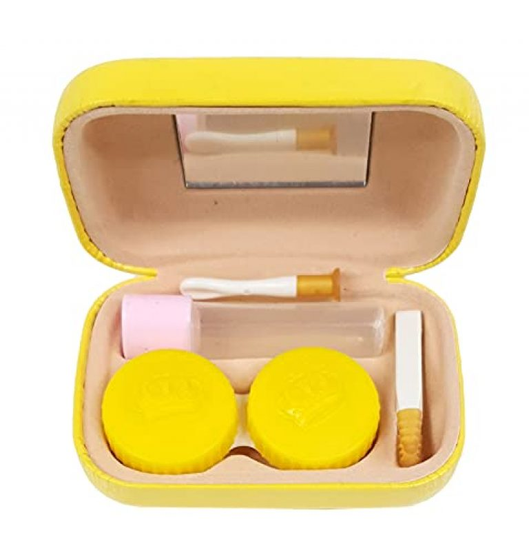 Crackles Cute Contact Lens Travel Kit Case Box Container Holder with Tweezers and Solution Bottle & Mirror Random Pattern- Pack of 1