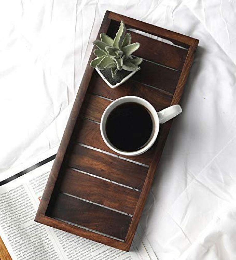 Creation India Craft Wooden Serving Tray Kitchen Organizer Breakfast Dinner Trays, Dining Table Home & Kitchen Decoration (13x6x1.5 inch Brown)