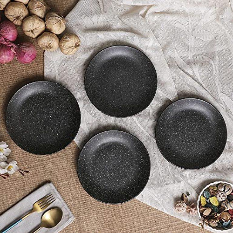 Crok Chok Black Matte Ceramic Side Plates & Ceramic Plates for Dinner Quarter Plates 7 Inches ( Dishwasher & Microwave Safe)