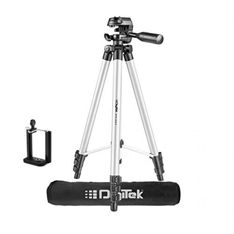 DIGITEK® (DTR 455 LT) (132 CM) Tripod Mobile Holder and Carry Bag For DV Cameras and Smartphone | Max Operating Height – 4.26 Feet | Load Capacity-3 Kg | Lightweight & Sturdy Tripod with Adjustable 3 Way Pan Head