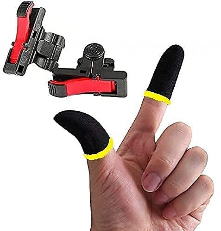 DUETMI PRO MAX Auto Gun Pubg Mobile Gaming Controller Sensitive Aim and Fire Red Black Triggers L1 R1 Button Mobile Gamepad Finger Sleeve for Pubg/Free Fire/Cod Mobile (2 Pcs) (Multicolour)