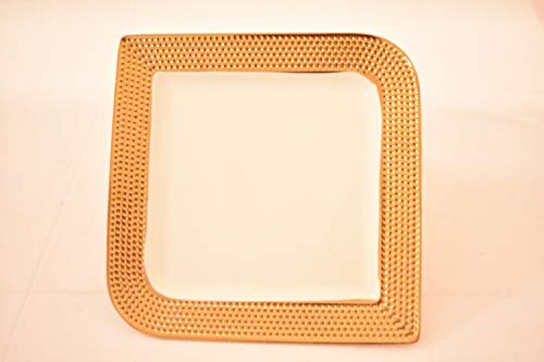 Danube Home Ceramic Clare Serving Plate Octa M (White, Golden)