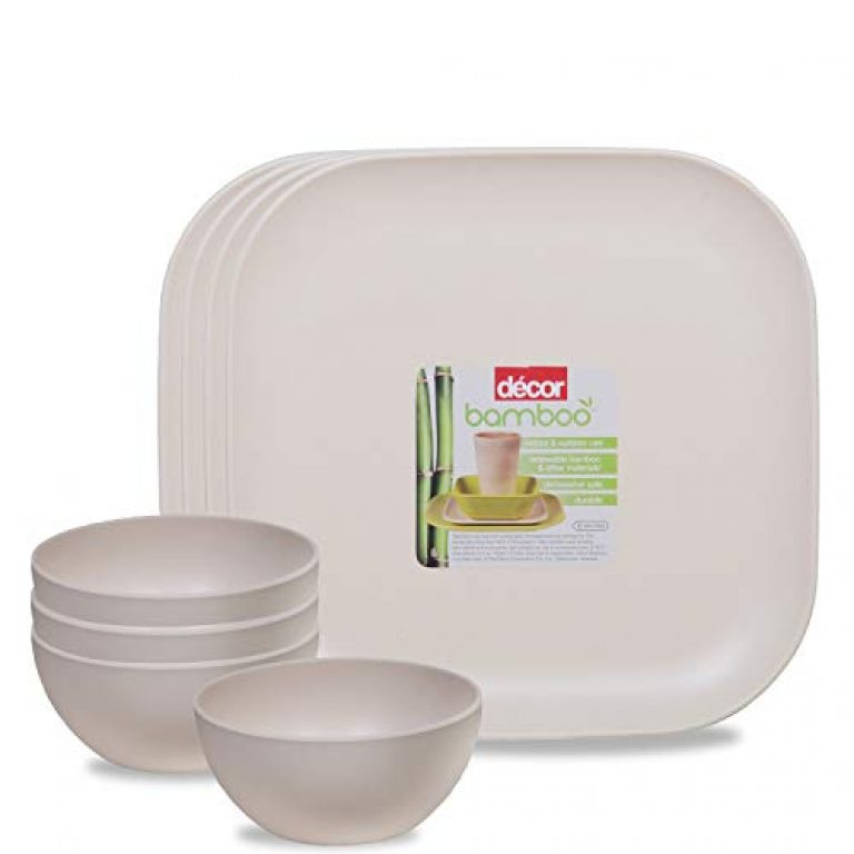 Decor EcoLite Bamboo Non Toxic Eco-Friendly Reusable 4 Small Plates and 4 Bowls Dinner Set for Couples (Natural White) – 8 Pieces