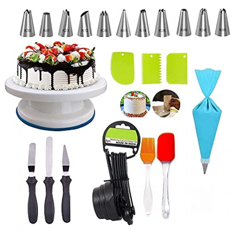 Deetto Cake Decorating Stand with 3pcs Plastic Scraper,8 Measuring Cups,Silicone Spatula and Brush Set,3-in-1 Multi-Cake Icing Spatula Knife with 12 Piece Cake Decorating Nozzles Set