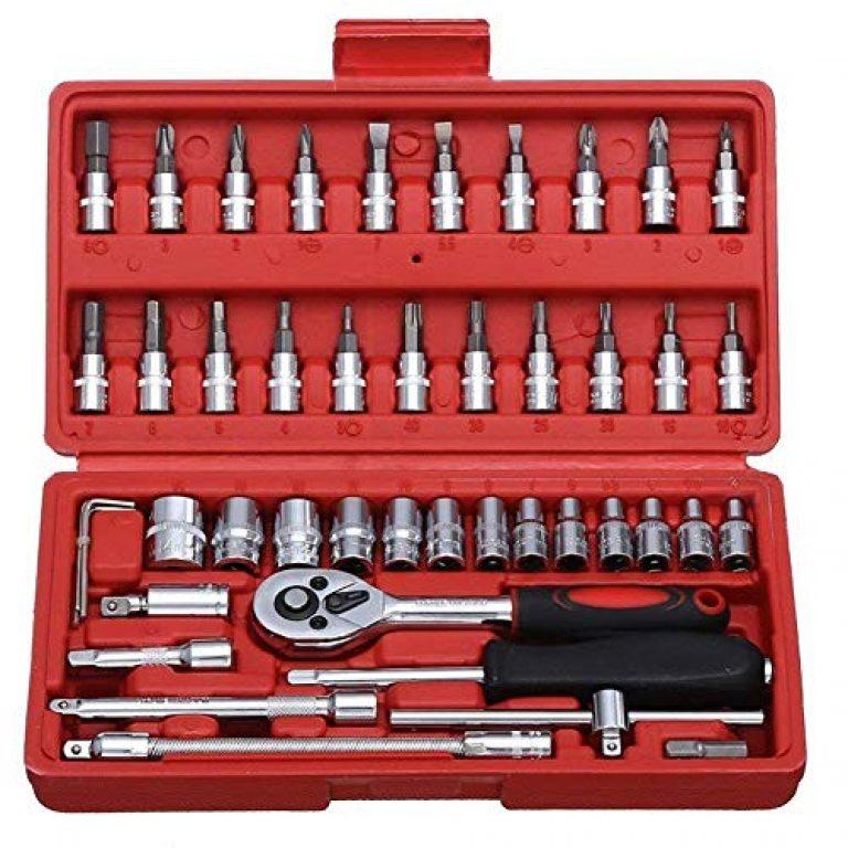 Disha Enterprise 46 in 1 Pcs Tool Kit & Screwdriver Set Multi Purpose Combination Socket Set Case Precision Screw Driver Tool Box – Multi Colour