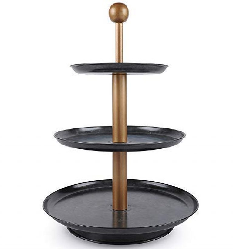 ELAN Knob 3-Tier Metal Cake Stand, Cupcake and Dessert Stand, Tea Party Pastry Serving Platter in Gift Box (Antique Black)