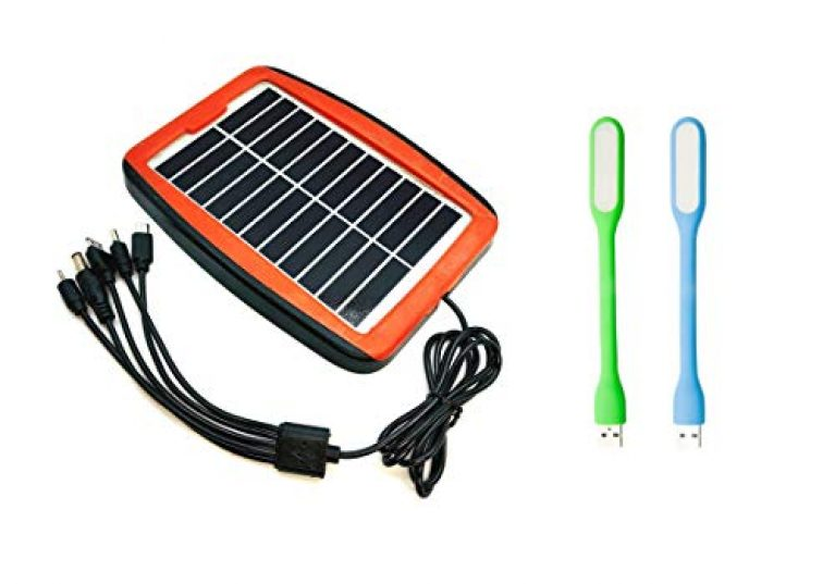 ERH India High Power Solar Panel Solar Mobile Charger Kit for Multiple Applications with 2 Pcs USB Lights