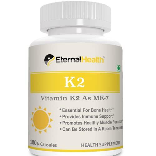 EternalHealth Vitamin K2 as MK-7, High potency form of K2-180 Vegetable Capsules