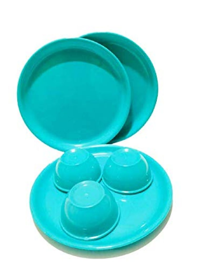 Everbuy Microwave Safe and Unbreakable Round Full Plastic Plates with Bowl Set (Green) – Pack of 3 Pieces Plates and 3 Pieces Bowl