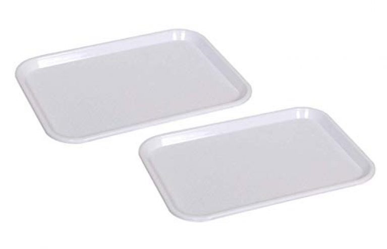 Everbuy Serving Tray Platter Rectangular Shape Plastic Trays for Drink Breakfast Tea Dinner Coffee Salad Food for Dinning Table 11×14 Inches, Color-(White) Set of 2 (Made in India)